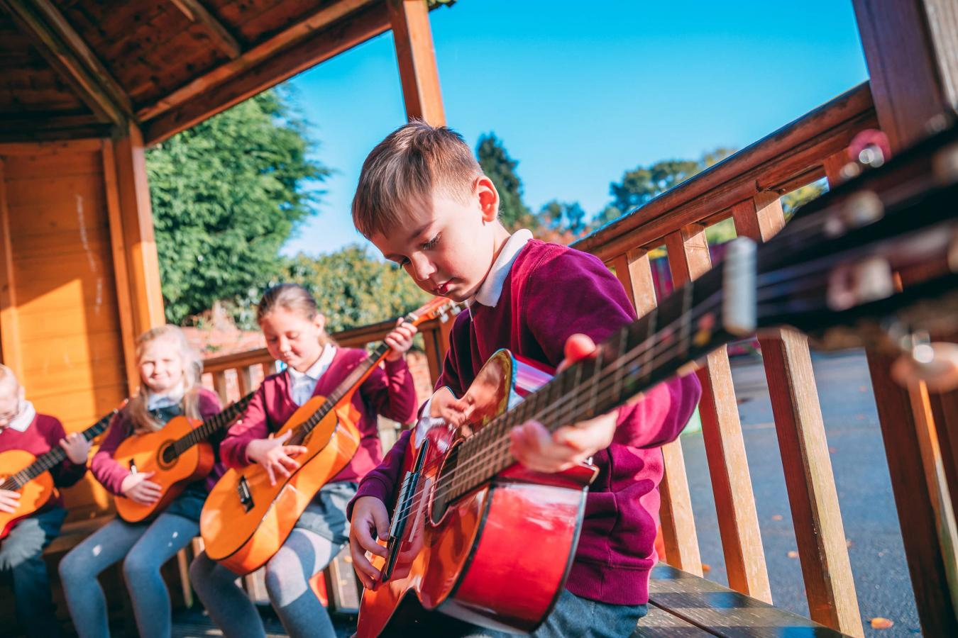 Music lesson in the playground