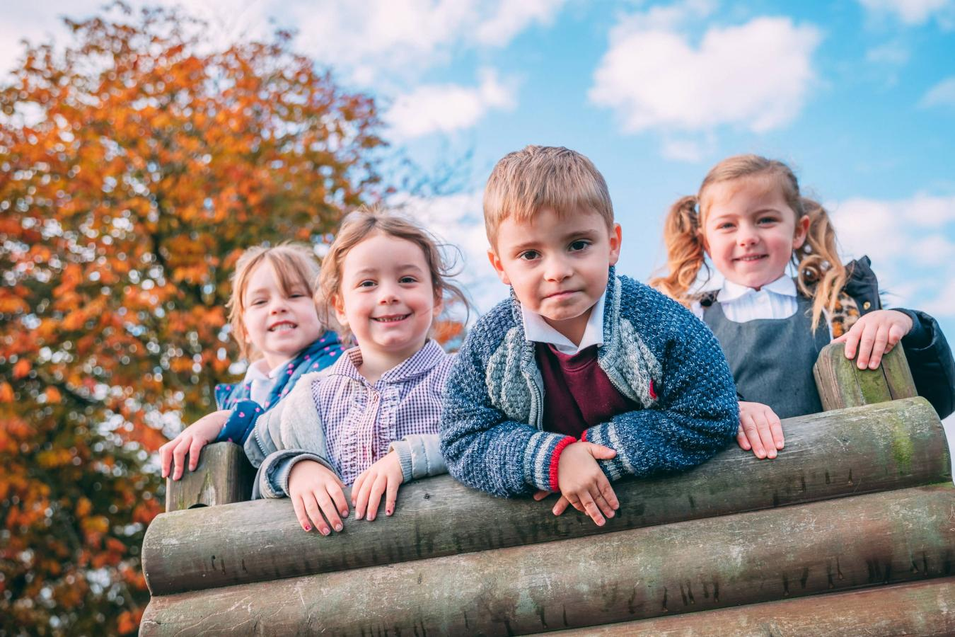 Pupils on a climbing frame