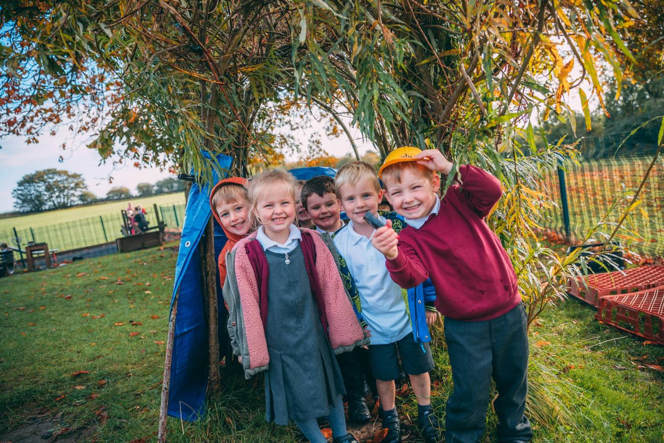 Pupils in a nature area